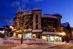 Illuminated Street of Megeve on Christmas Eve Royalty Free Stock Photography