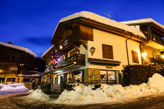 Illuminated Street of Megeve on Christmas Night Stock Images