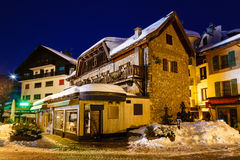 Illuminated Street of Megeve on Christmas Night Royalty Free Stock Photo
