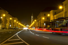 Illuminated street in Munich, Germany Royalty Free Stock Photo