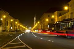 Illuminated street in Munich, Germany Royalty Free Stock Photo