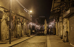 Illuminated street of old Jaffa Stock Photos