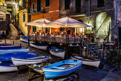 Illuminated Street of Riomaggiore in Cinque Terre at Night Stock Photos