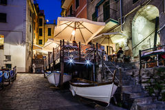Illuminated Street of Riomaggiore in Cinque Terre at Night Stock Photography