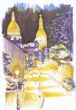 Illuminated street. Sketch. Evening. Europe. Illuminated street. Sketch the markers Royalty Free Stock Photography