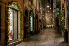 Illuminated street to party royalty free stock image