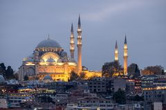 Illuminated Suleymaniye Mosque in Istanbul during the blue hour stock images