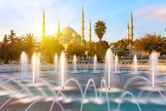 Illuminated Sultan Ahmed Mosque (Blue Mosque), Istanbul, Turkey. Illuminated Sultan Ahmed Mosque (Blue Mosque), Istanbul, Turkey Stock Images