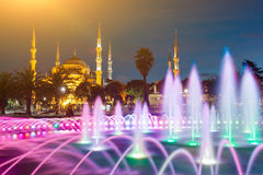Illuminated Sultan Ahmed Mosque (Blue Mosque) before sunrise, Istanbul, Turkey. Stock Images