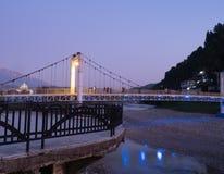 Illuminated Suspension Bridge of Osum River in Berati Albania