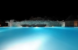Illuminated swimming pool Royalty Free Stock Photo