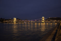 Illuminated Szechenyi Chain Bridge Royalty Free Stock Image