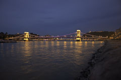 Illuminated Szechenyi Chain Bridge Stock Images