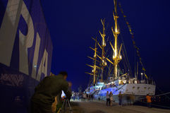 Illuminated tall ship Stock Image