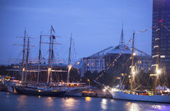 Illuminated The tall ships races ships in Riga Royalty Free Stock Images