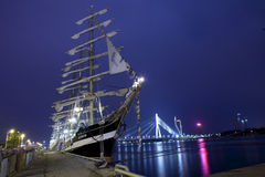 Illuminated The tall ships races ships in Riga Stock Photos