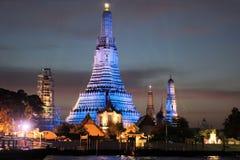 Illuminated Temple of Dawn, Wat Arun, Bangkok Stock Photo