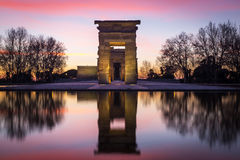 Illuminated Temple of Debod and reflection during sunset in Madr Royalty Free Stock Photos