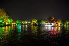 Illuminated temple on Li River Stock Image
