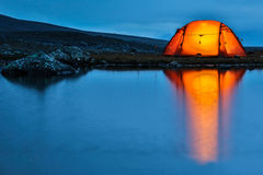 Illuminated Tent with Reflection royalty free stock photo