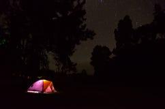 Illuminated tent under a starry sky, Kauai, Big Island Stock Photography