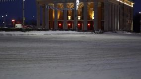 Illuminated Theater in winter evening stock footage