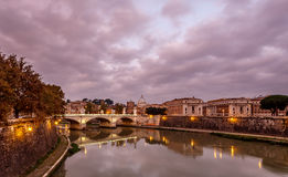 Illuminated Tiber River Embankment and Saint Peter's Cathedral Royalty Free Stock Images
