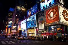 Illuminated Time Square Stock Photo
