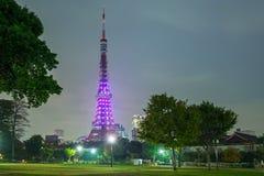 Illuminated Tokyo tower at night Stock Image
