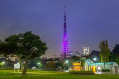 Illuminated Tokyo tower in the park at night. Japan Royalty Free Stock Photos