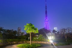Illuminated Tokyo tower in the park at night. Japan Stock Photo