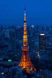 Illuminated Tokyo Tower and skyline at night from Roppongi Hills. Cityscape of Tokyo at night, as seen from the top of one of the highest buildings in Roppongi stock photos