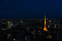 Illuminated Tokyo Tower and skyline at night from Roppongi Hills Royalty Free Stock Images