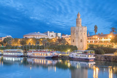 Illuminated Torre del Oro in Seville. Illuminated Torre del Oro Golden tower in Seville, Andalusia, Spaim Royalty Free Stock Photos