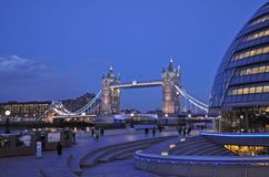 Illuminated Tower Bridge in London stock photos