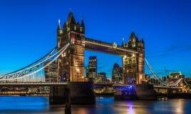 Illuminated Tower Bridge in London After Sunset Stock Photo