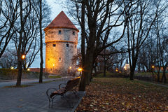 Illuminated Tower in the Old Town of Tallinn Stock Photography