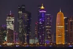 #illuminated towers in Doha, Qatar. DOHA, QATAR - NOVEMBER 11, 2017: Night view of the city`s towers during the diplomatic crisis Stock Photo