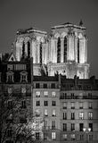 Illuminated towers of Notre Dame de Paris Cathedral at night Royalty Free Stock Images