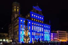 Illuminated town hall of Augsburg, Germany Royalty Free Stock Photo