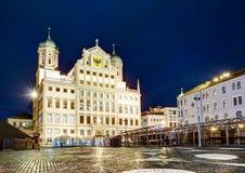 Illuminated town hall of Augsburg at night Royalty Free Stock Photo