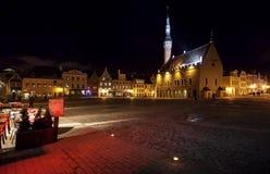 Illuminated town hall in old Tallinn Royalty Free Stock Image