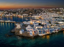 The illuminated town of the island of Mykonos just after summer sunset time Royalty Free Stock Photography