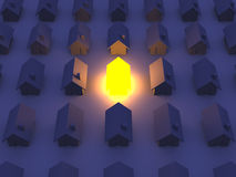 Illuminated Toy house. 3D rendered Illustration. An illuminated Toy House Royalty Free Stock Image