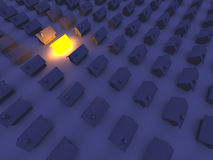 Illuminated Toy house. 3D rendered Illustration. An illuminated Toy House Royalty Free Stock Images