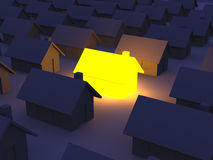 Illuminated Toy house. 3D rendered Illustration. An illuminated Toy House Royalty Free Stock Photography