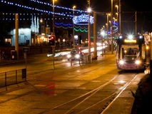 Illuminated trams Stock Photo