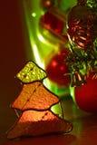 Illuminated tree. Glowing Christmas tree and Christmas toys Stock Photography