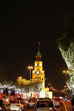 Illuminated trees & Riffa Clock Tower on the National day Stock Images