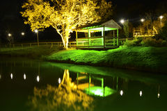 Illuminated Trees and Viewpoint at Night. During the Diwali Festival of Light at Robin Hill on the Isle of Wight. Reflections can be seen in the water in the Stock Photo